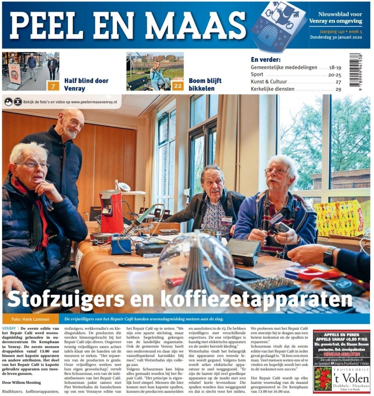 30-01-2020 op de voorpagina van de Peel en Maas!